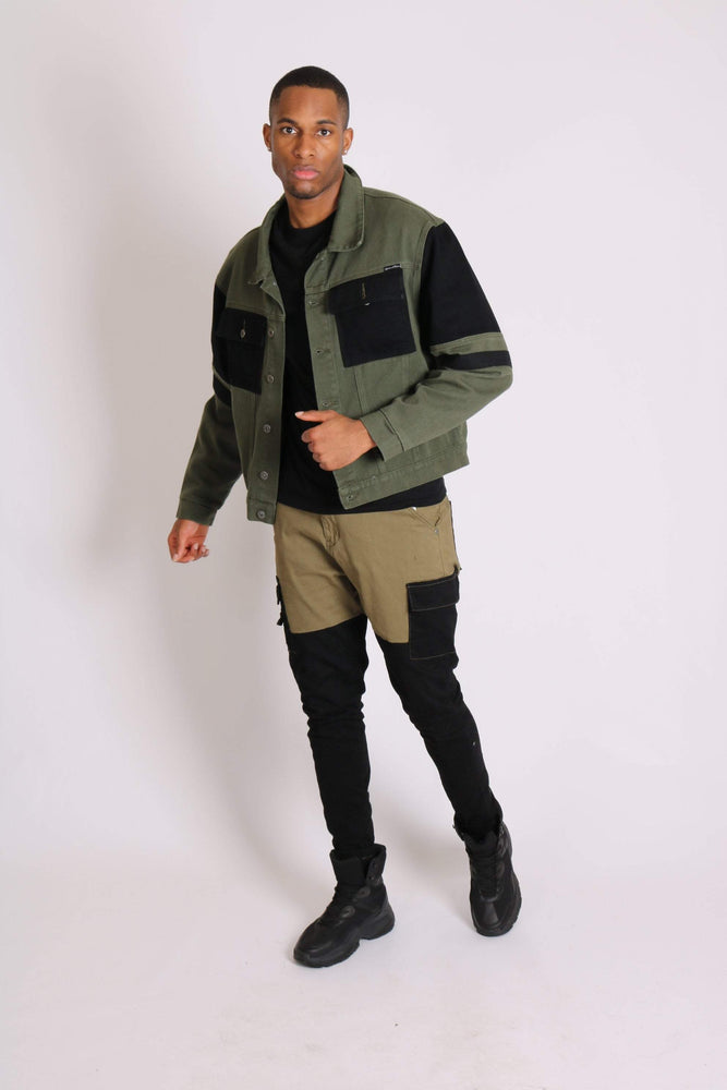 Faro oversized contrast utility denim jacket in black and khaki - Liquor N Poker  LIQUOR N POKER