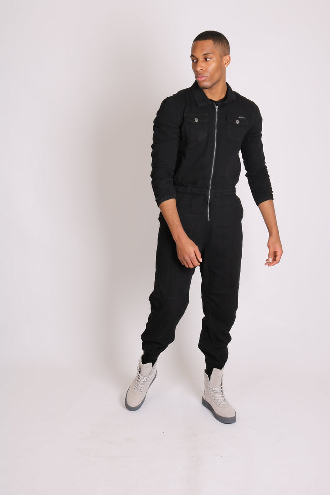 Fulwood denim boilersuit in black with zip front