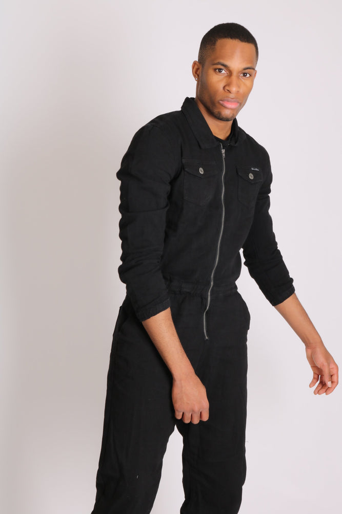 Load image into Gallery viewer, Fulwood denim boilersuit in black with zip front - Liquor N Poker  LIQUOR N POKER