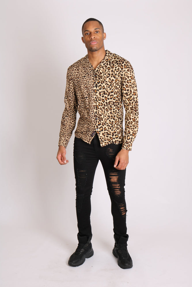 I bring the party - spliced leopard print long sleeve shirt - Liquor N Poker  LIQUOR N POKER