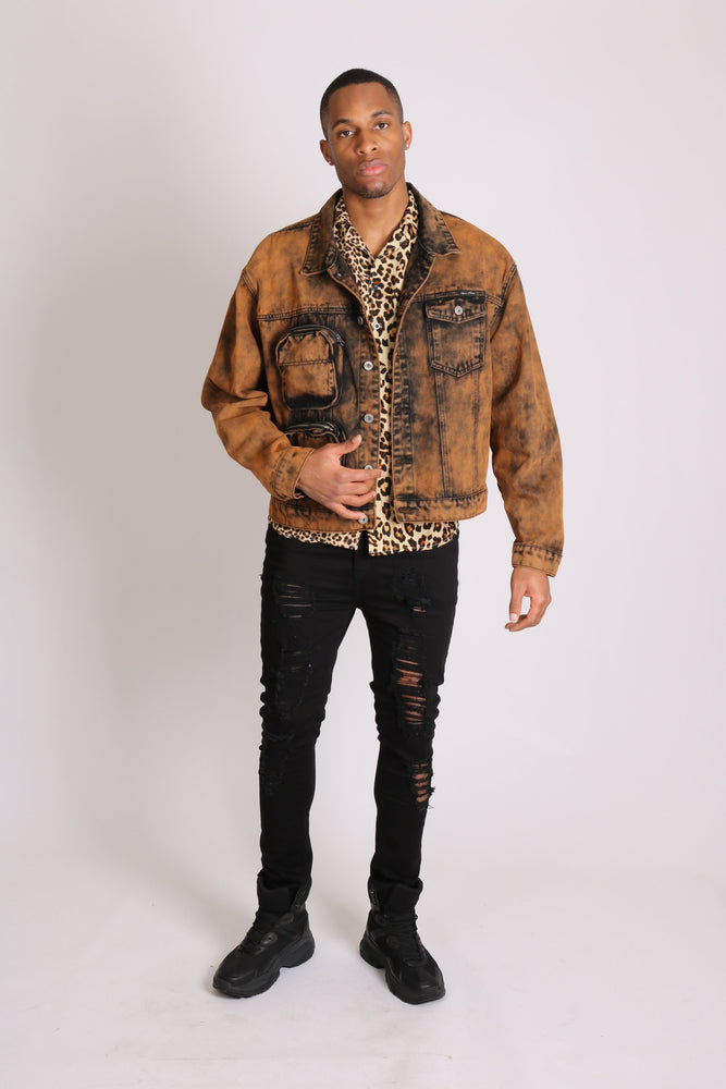 Fort oversized utility denim jacket in burnt orange - Liquor N Poker  LIQUOR N POKER