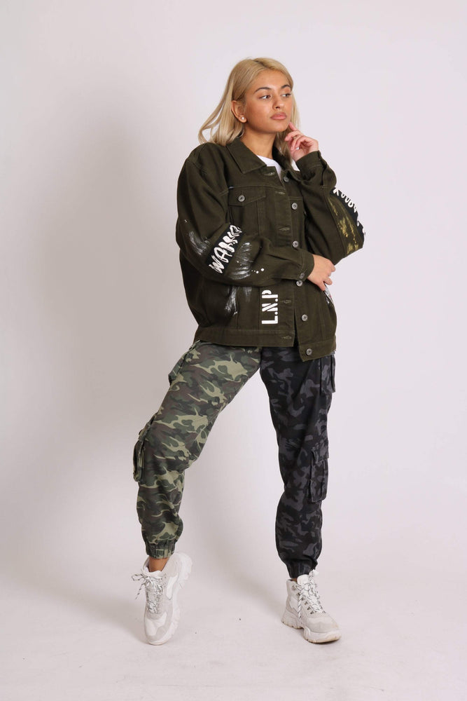 Warrior graffiti oversized denim jacket in khaki and paint splatter - Liquor N Poker  LIQUOR N POKER