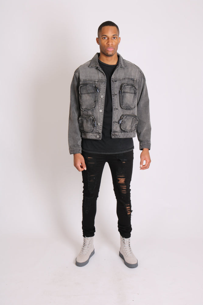 Fort oversized utility pocket denim jacket in washed grey