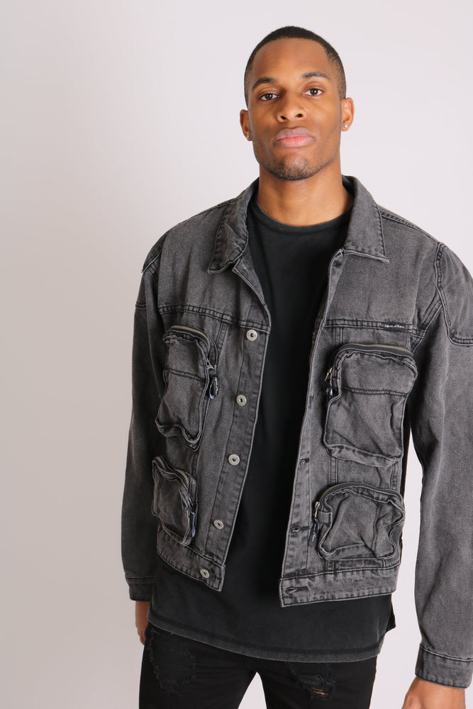 Fort oversized utility pocket denim jacket in washed grey - Liquor N Poker  LIQUOR N POKER