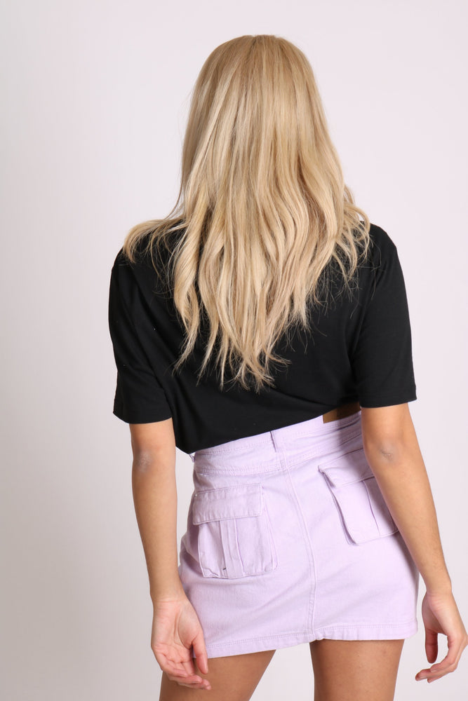 Candy denim mini skirt in soft lilac - Liquor N Poker  LIQUOR N POKER