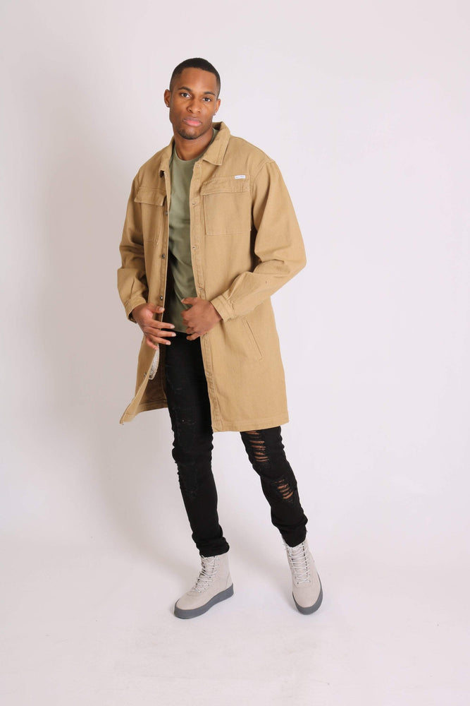 Return of the mac unisex longline denim jacket in sandy tan