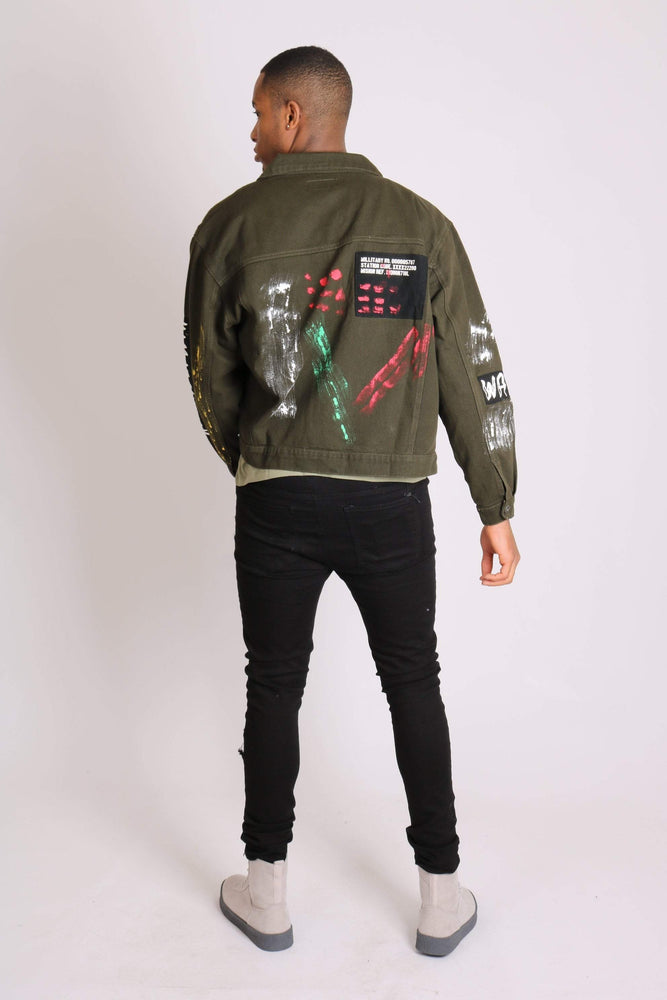 Warrior graffiti oversized denim jacket in khaki and paint splatter