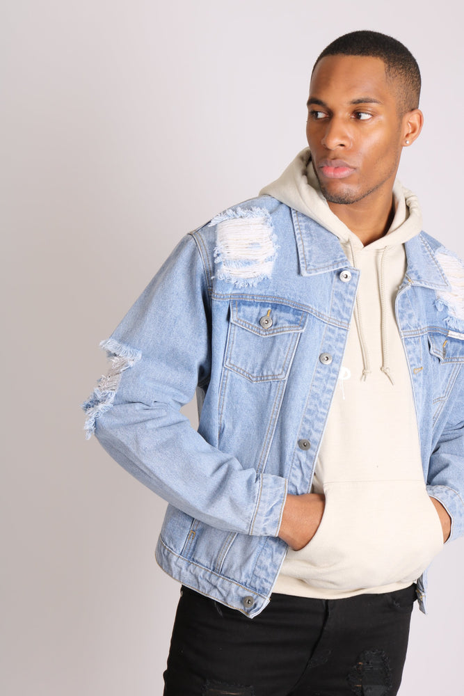 Load image into Gallery viewer, Faro oversized denim jacket in vintage stonewash with distressing - Liquor N Poker  LIQUOR N POKER