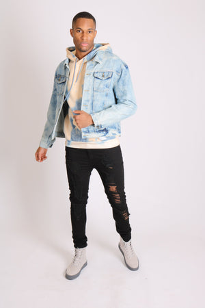 Head in the clouds denim jacket with cloudy bleach wash - Liquor N Poker  LIQUOR N POKER