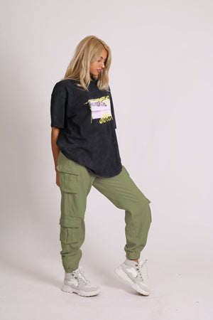 Liquor n Poker Relaxed fit cargo trousers in washed khaki twill denim