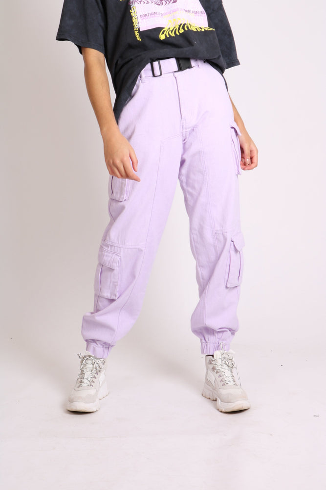 Liquor n Poker belted combats in lilac denim - Liquor N Poker  LIQUOR N POKER