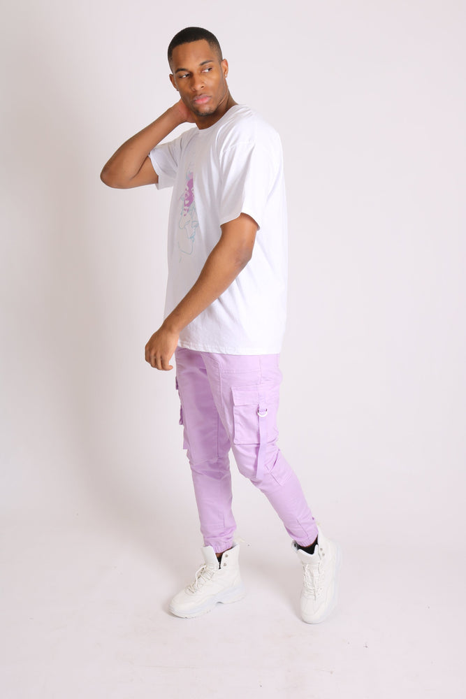 Detroit denim cargo trousers in lilac
