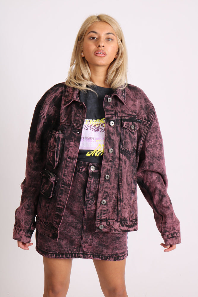 The boyfriends denim jacket in pink acid wash and utility pocket - Liquor N Poker  LIQUOR N POKER