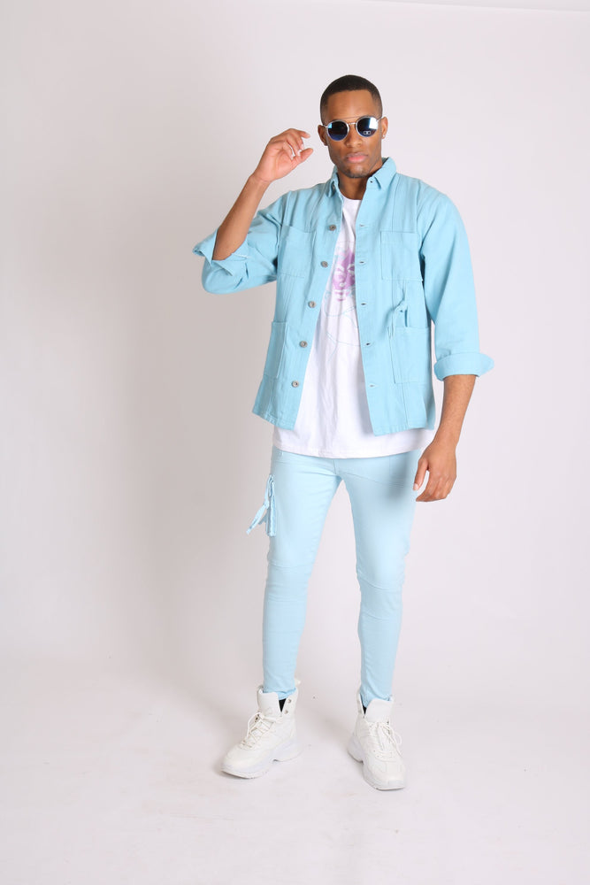 Liquor n Poker Utility cargo trousers in powder blue