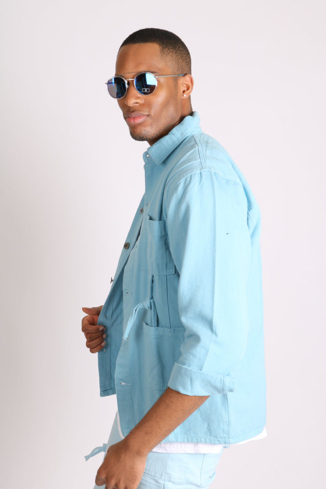 Liquor n Poker utility jacket in powder blue