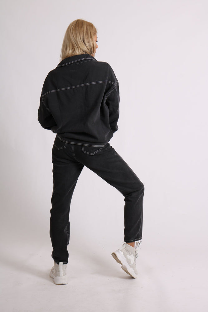 Load image into Gallery viewer, Mom jeans in washed black co-ord - Liquor N Poker  LIQUOR N POKER