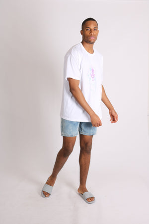 Load image into Gallery viewer, Liquor n Poker relaxed denim shorts in cloud bleach wash - Liquor N Poker  LIQUOR N POKER