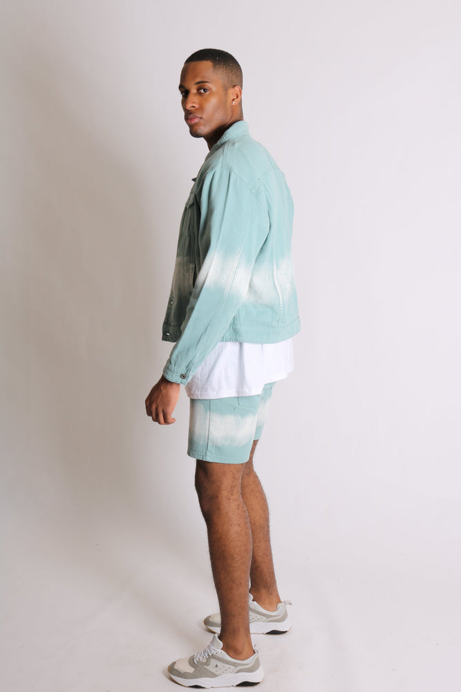 Liquor n Poker slim fit denim shorts in sage tie dye - Liquor N Poker  LIQUOR N POKER