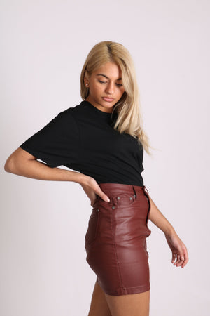 Liquor n Poker coated pu mini skirt in burgandy - Liquor N Poker  LIQUOR N POKER