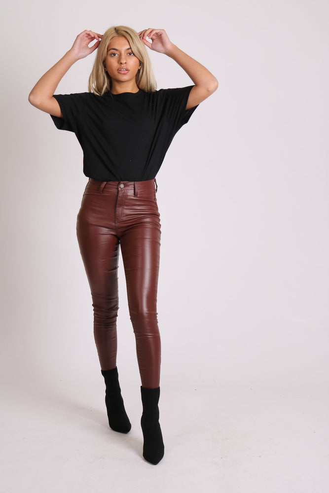 Liquor n Poker vice coated skinny jean in burgandy - Liquor N Poker  LIQUOR N POKER