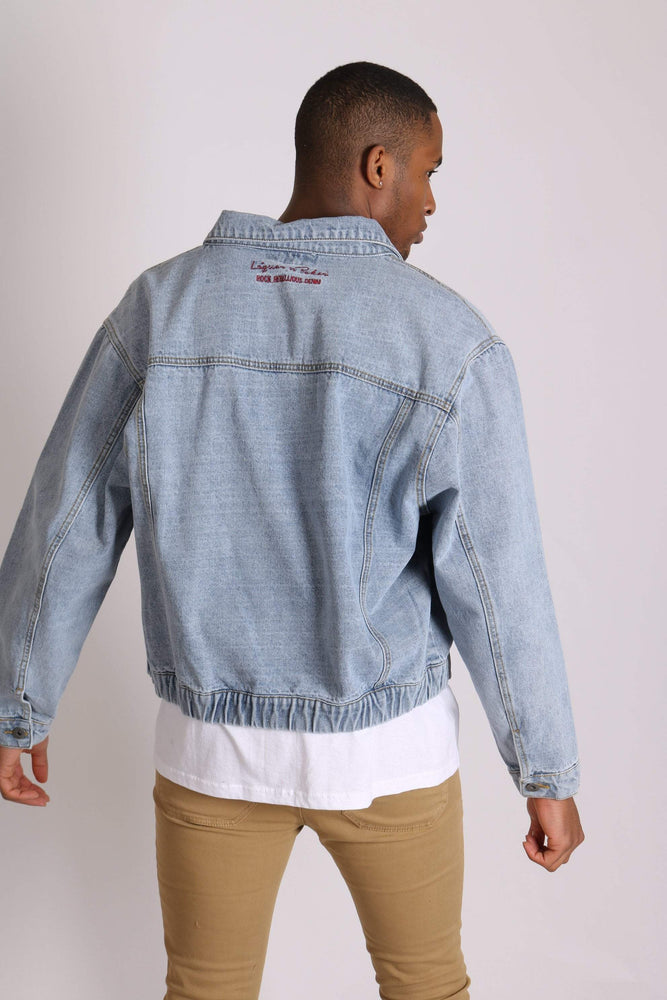 Bowie oversized vintage denim jacket with elasticated waist band - Liquor N Poker  LIQUOR N POKER