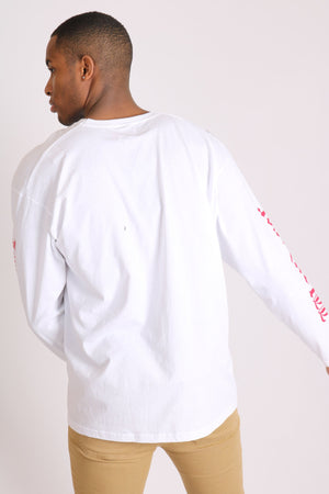 Wanderer long sleeve t shirt with safari print in white - Liquor N Poker  LIQUOR N POKER