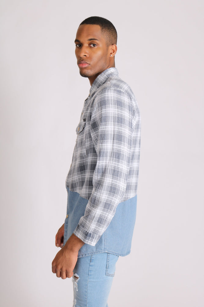 Cleveland light denim shirt with contrast flannel check - Liquor N Poker  LIQUOR N POKER
