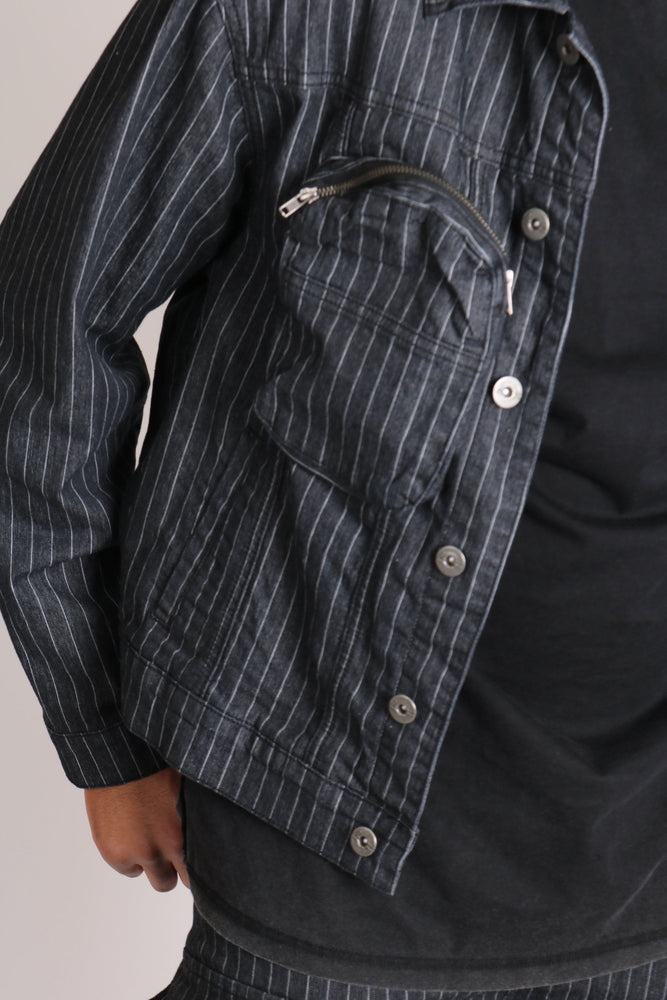 Detroit oversized pinstripe denim jacket with utility bubble pocket - Liquor N Poker  LIQUOR N POKER
