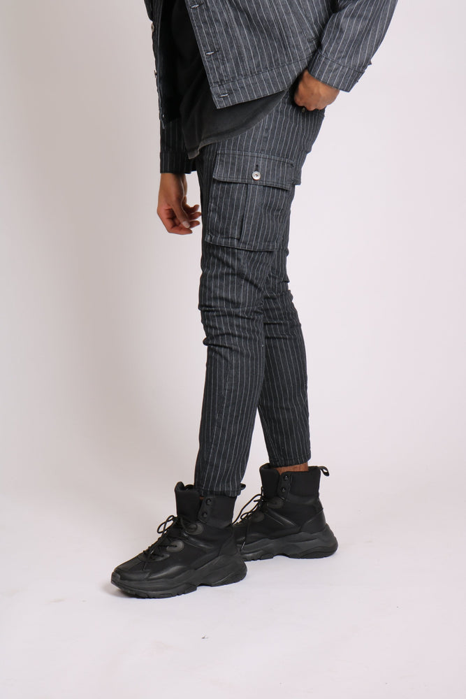 Load image into Gallery viewer, Faro - Denim pinstripe cargo pants - Liquor N Poker  LIQUOR N POKER