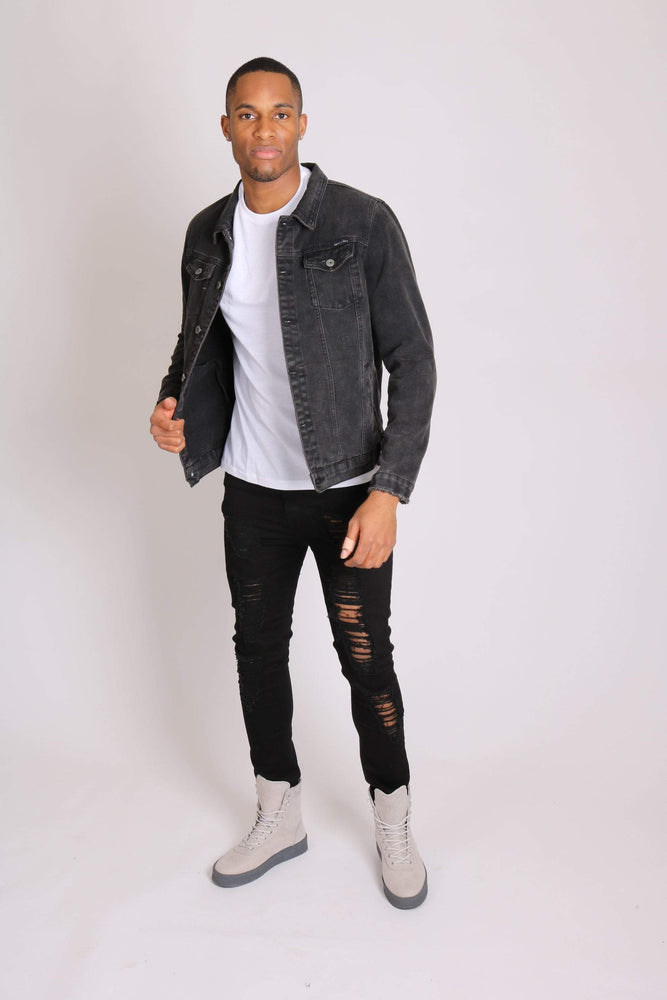 Logan stretch skinny fit jeans with rips in black