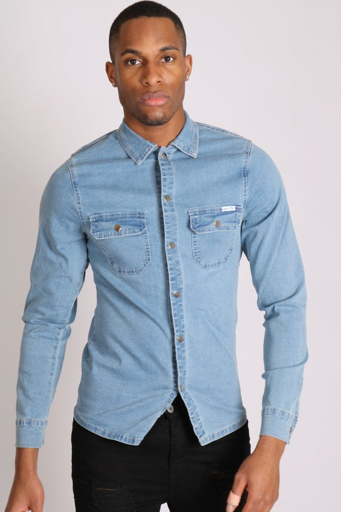 Liquor n Poker Muscle fit stretch denim shirt in blue