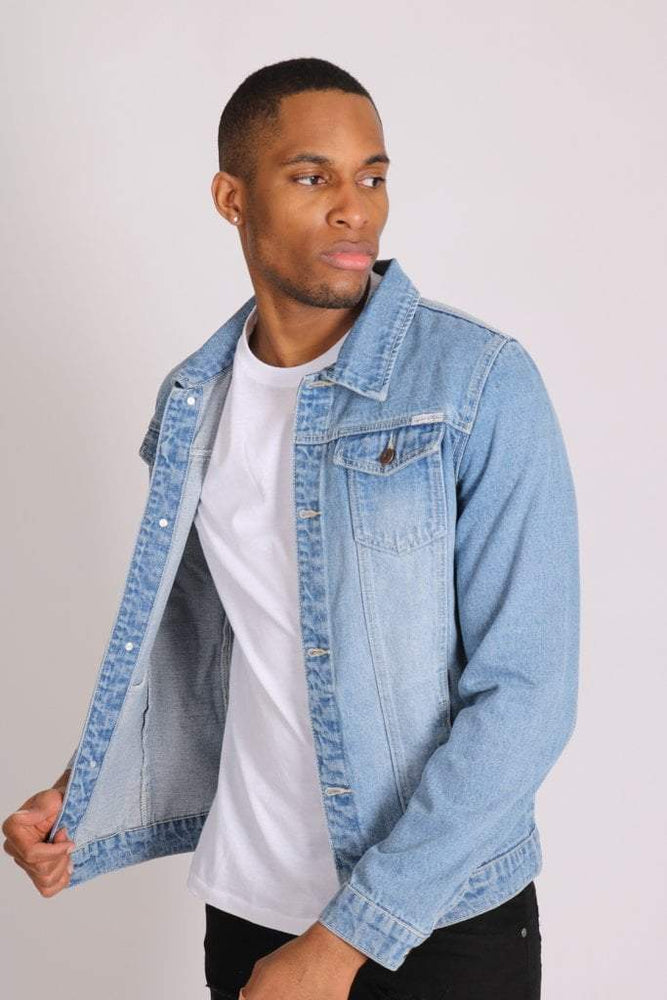 Norton Classic slim fit denim trucker jacket in stonewash
