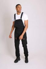 Louisiana Black Distressed Denim Dungarees - Liquor N Poker  LIQUOR N POKER