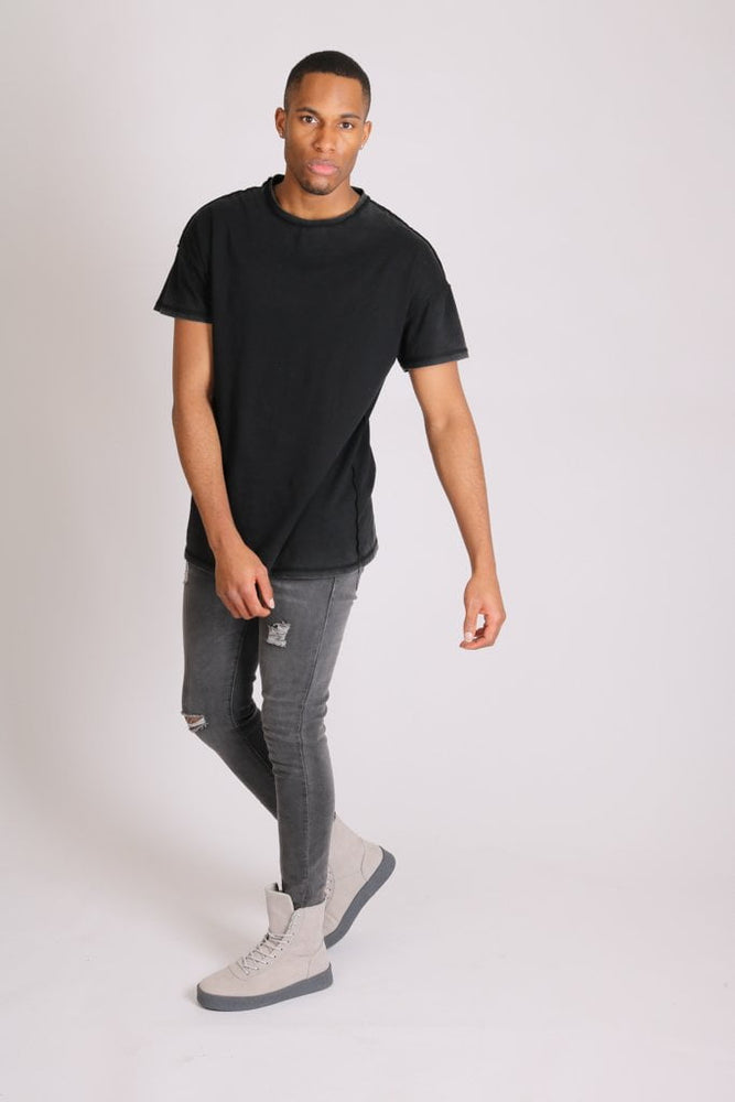 Logan stretch skinny jeans in washed black with distressing - Liquor N Poker  LIQUOR N POKER