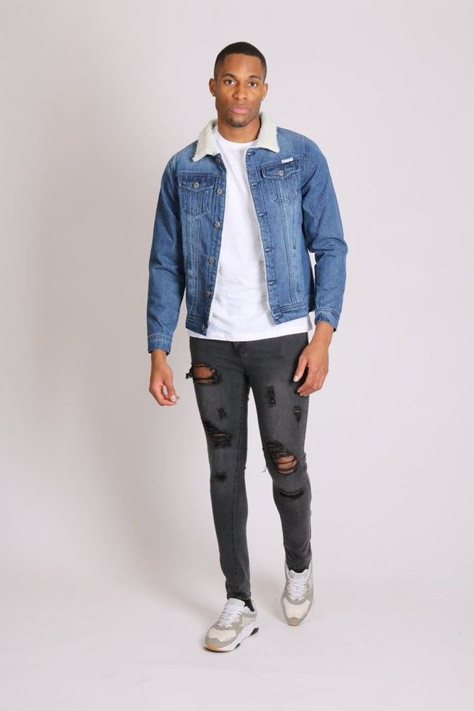 Norton fitted denim jacket with borg collar in dark indigo - Liquor N Poker  LIQUOR N POKER