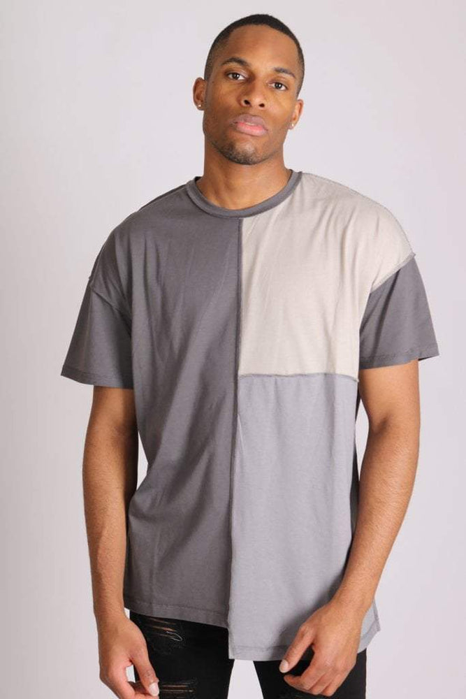 Bayside oversized t shirt in contrast grey patchwork - Liquor N Poker  LIQUOR N POKER