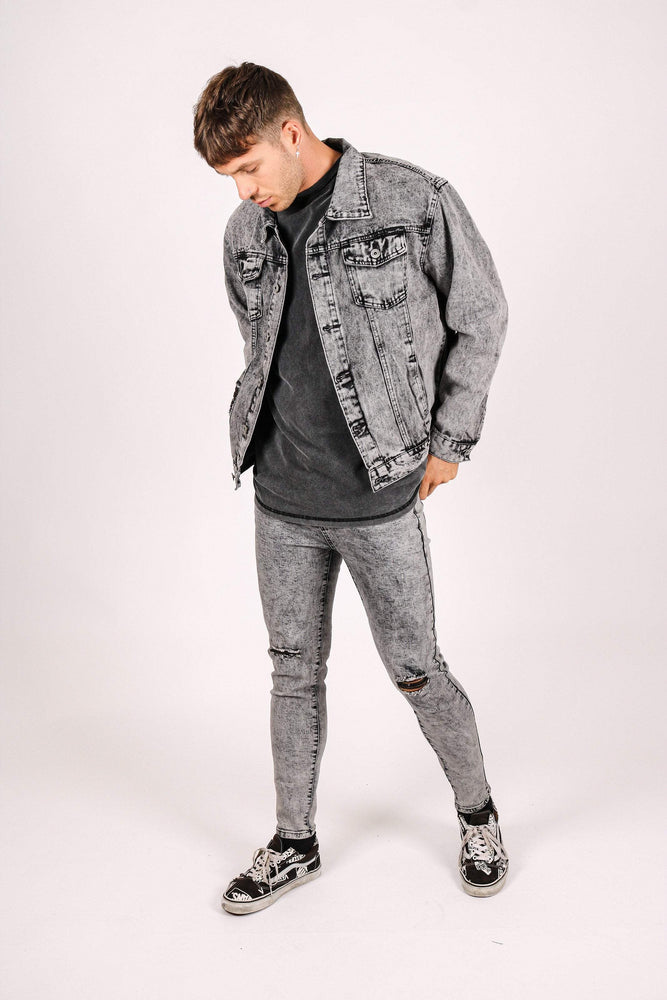 Jaden oversized distressed denim jacket in acid wash grey