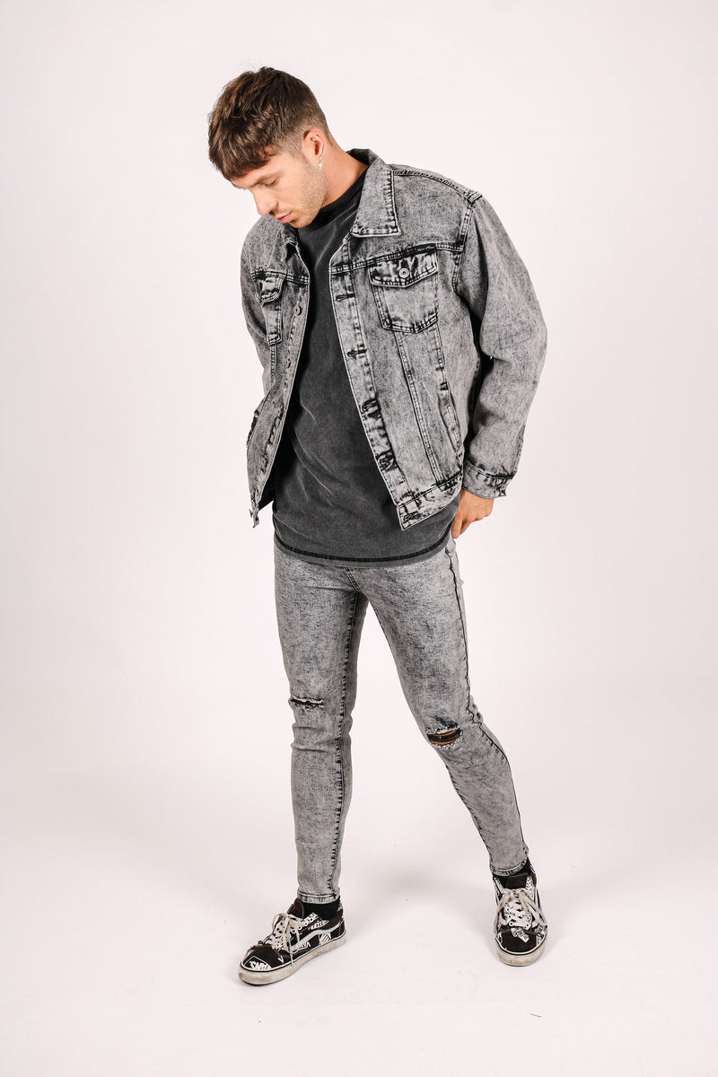 Logan skinny jeans in acid wash grey - Liquor N Poker  Liquor N Poker