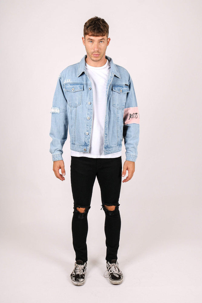 RIOT CHILD Oversized denim jacket with bandanna sleeve