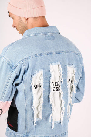 RIOT CHILD Oversized denim jacket with bandanna sleeve - Liquor N Poker  LIQUOR N POKER