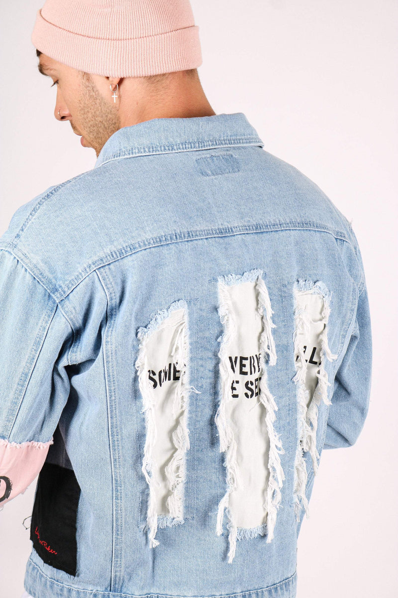 DENIM JACKET WITH DUSTY PINK ARM BAND IN BLUE WASH - Liquor N Poker  Liquor N Poker
