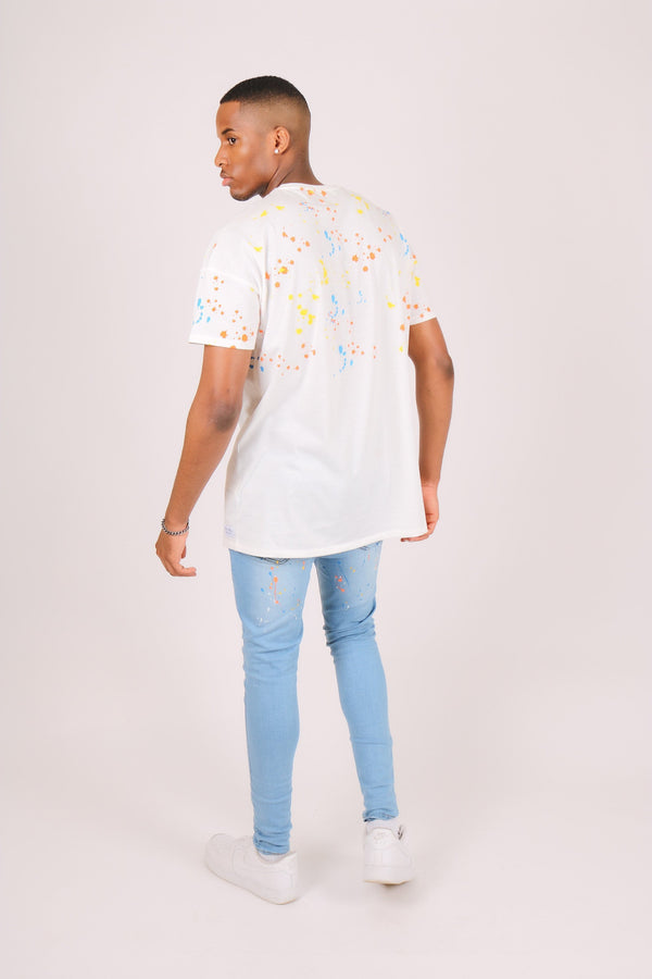 Oversized t shirt in white with paint splatter