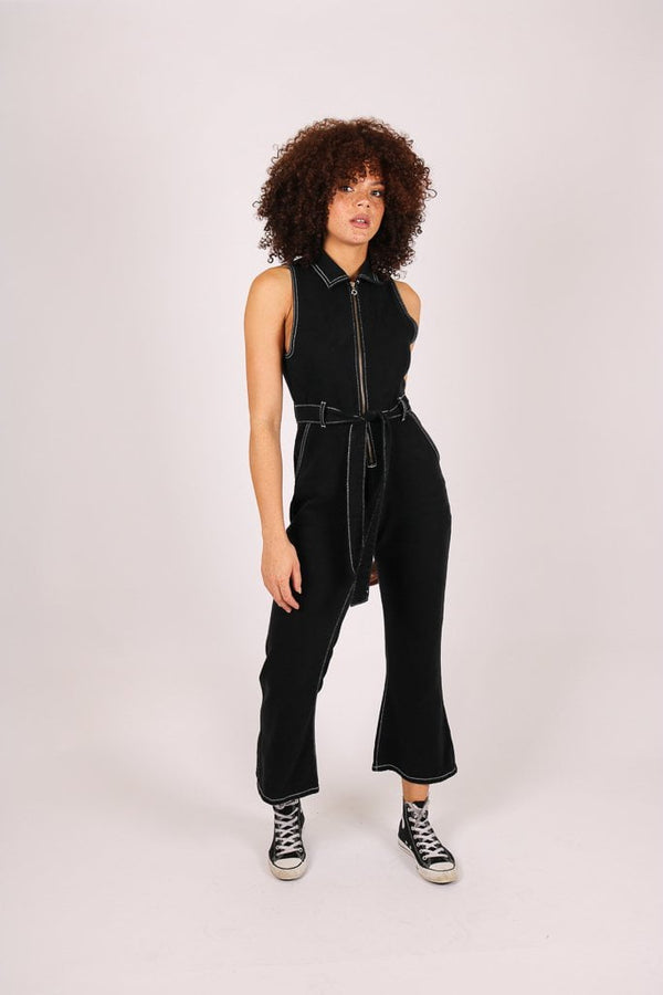 Wyoming denim jumpsuit with kick flare in black