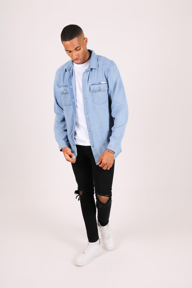Ashton oversized denim worker shirt in vintage indigo