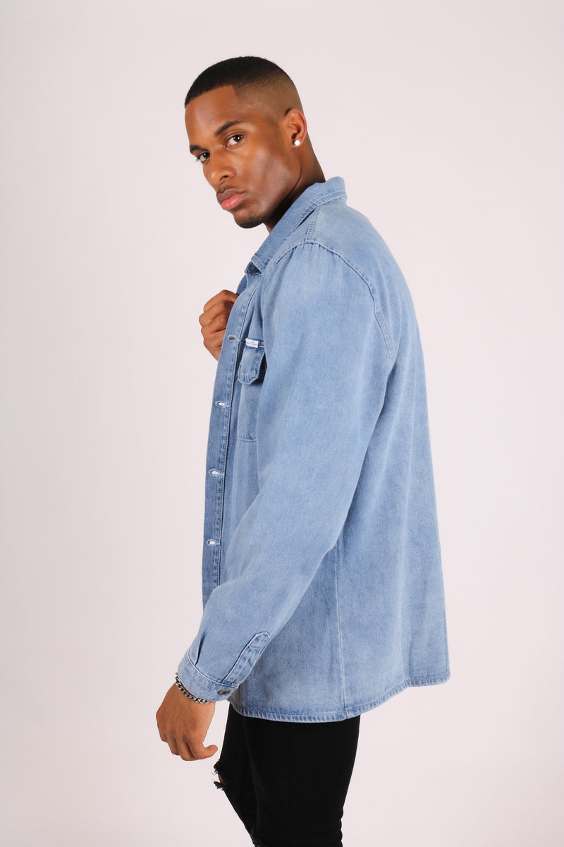 Ashton oversized denim worker shirt in vintage indigo - Liquor N Poker  Liquor N Poker