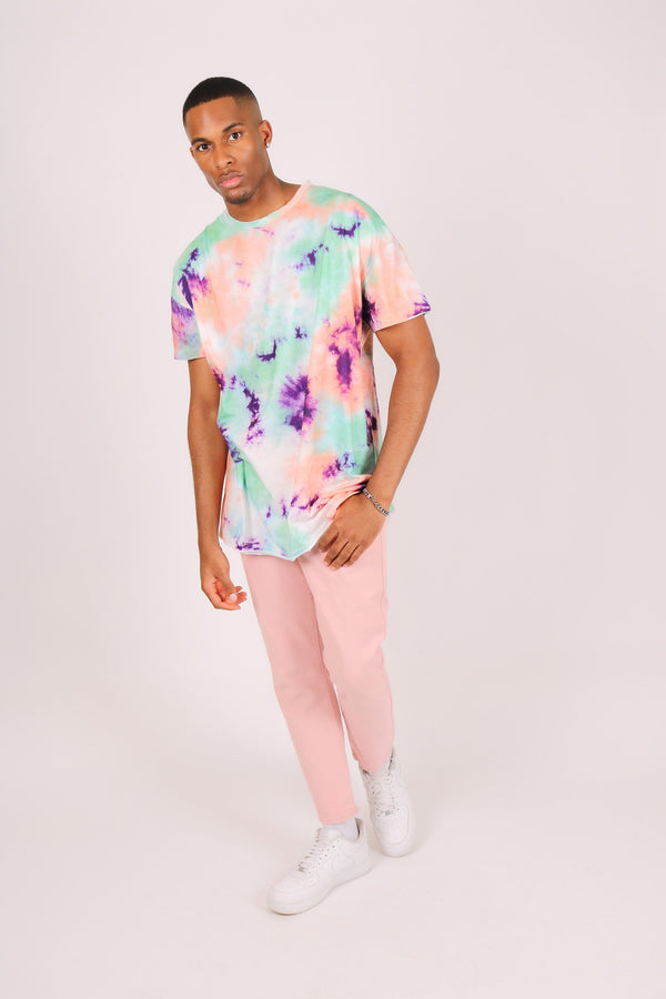 Oversized tie dye t shirt in green and pink