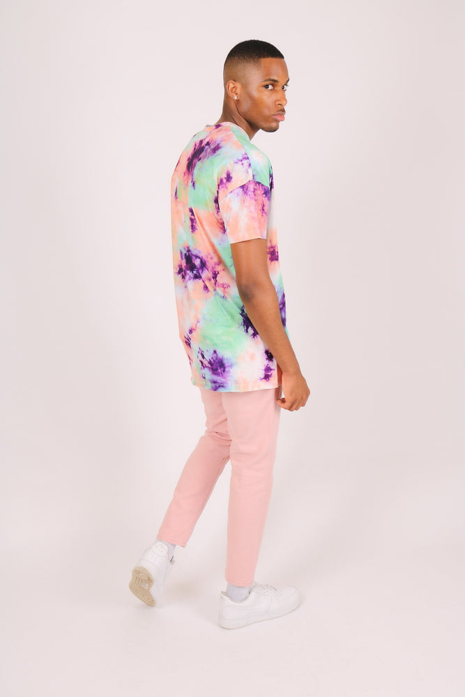 Load image into Gallery viewer, Oversized tie dye t shirt in green and pink - Liquor N Poker  LIQUOR N POKER