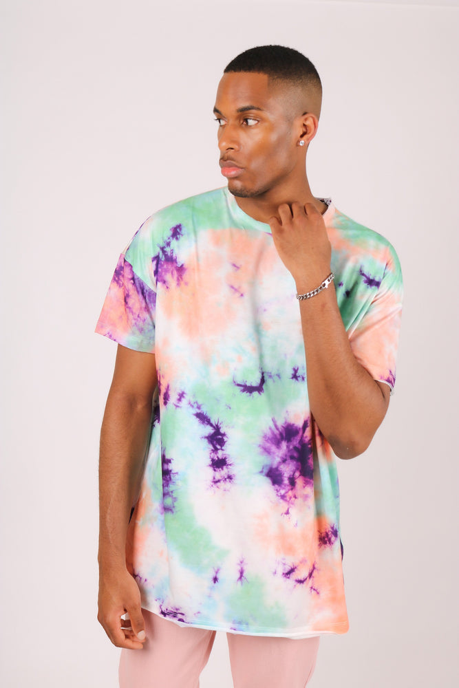 Oversized tie dye t shirt in green and pink - Liquor N Poker  LIQUOR N POKER
