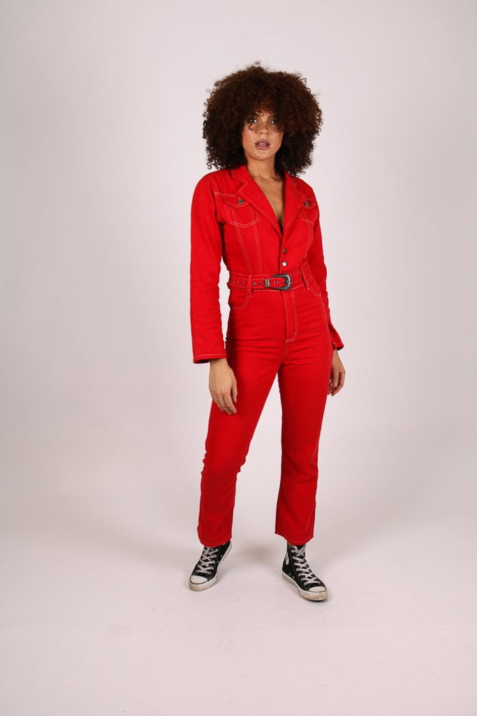 Rodeo western denim jumpsuit in deep red