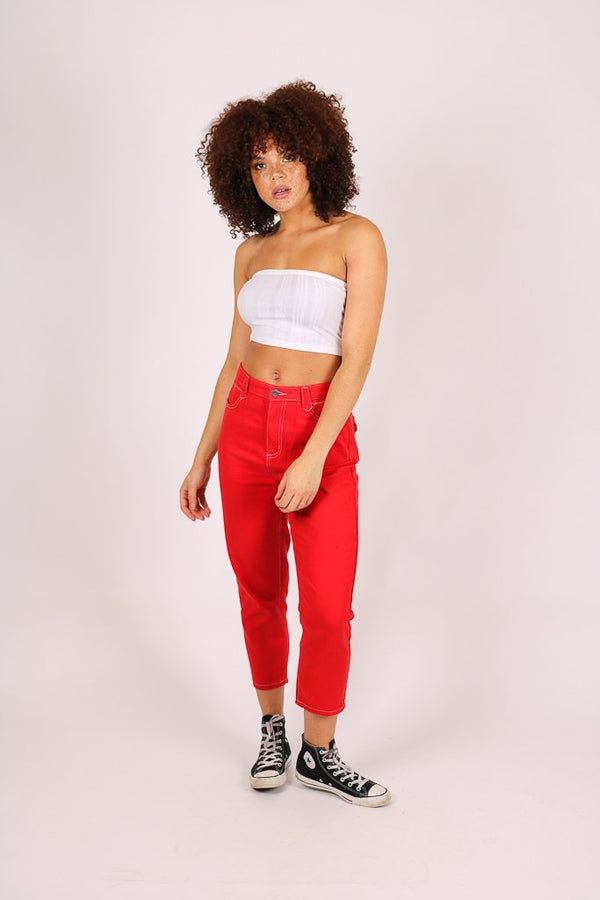 Rodeo western mom jeans in deep red